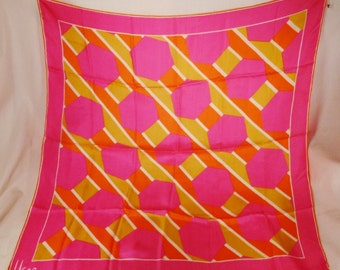 Vintage Designer VERA  signed  Scarf  1970s Japan silk  pink orange yellow octahedrons lines 31x31 inches great condition