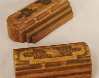 TILES FOUR Terra Cottra Glazed with color design 1920-30s Architectural artifact