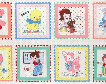 FABRIC 1930s Inspired Hanky BABY BLOCKS Primary Panel Blocks 23.5""