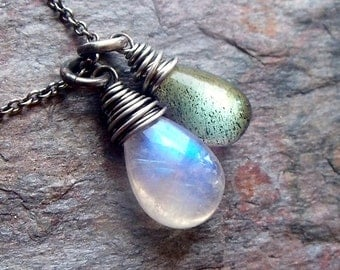 Rainbow Moonstone Labradorite Sterling Silver Necklace Smooth Rainbow Moonstone and Labradorite Pendants on Sterling Silver Chain