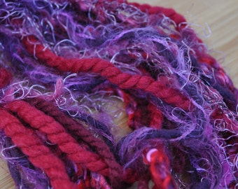 Destash Yarn - Scrap Bundle For Craft Projects - Red - Purple - School Colors - Red Hat Society - Fiber Art Supplies - Textile Craft Yarns