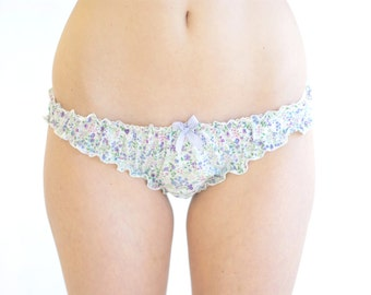 Cotton Floral Frilly Knicker Lingerie / 100% cotton lingerie / cotton panties / cotton briefs/ frilly panties / cute panties / floral panty