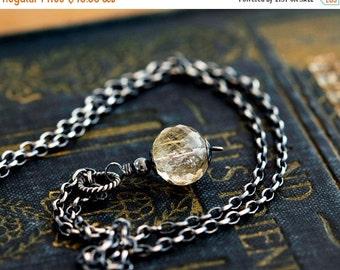 ON SALE Rutilated Quartz, Quartz Necklace, Rutilated Gold, Golden, Quartz Pendant, Gemstone Pendant, Gemstone Necklace, Sterling Silver, Pol