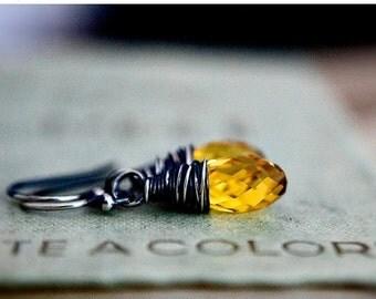 ON SALE Marigold Yellow Earrings Swarovski Crystal Dangle Drop Earrings Sterling Silver
