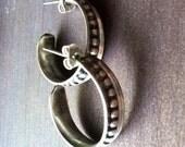 Beautiful Wide silver hoop earrings with beaded wire detail - handmade medium sized hoop earrings with post backs