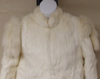 Vintage 100% genuine rabbit fur coat lined white off white cream jacket length