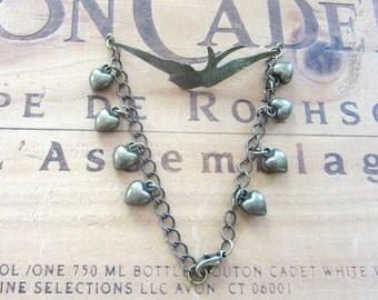 Brass Bird and Hearts Bracelet
