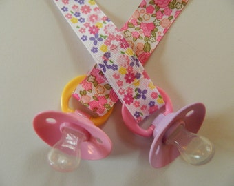 Pacifier Holder for Girls. Set of 2. Pink Floral Pacifier Holders. Baby Shower Gift. Universal, Soothie, Mam, Avent, Gumdrop or Nuk
