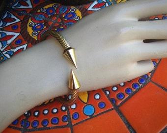 Yurman Style GoldTone Cuff Bangle Bracelet