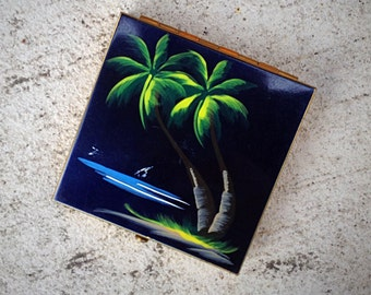 Pinup Nor-Blu Compact Handpainted Palm Trees 1950s Powder Case