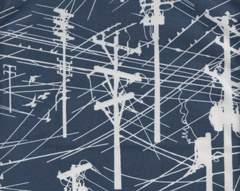 Hoffman ME + YOU Grafic Power Lines in Navy - Half Yard