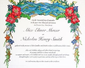 Seashore - Quaker Marriage Certificate, Ketubah
