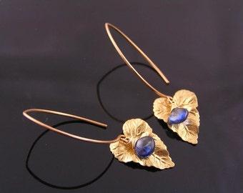 Blue Kyanite and Golden Leaf Earrings, Kyanite Earrings, Kyanite Jewelry, Precious Gemstone Jewelry, Blue Earrings, Gemstone Earrings, E2004