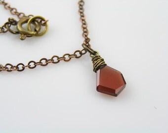 Garnet Necklace, Solitaire Necklace, Single Stone Necklace, January Birthstone Necklace, Garnet Jewelry, Garnet Pendant