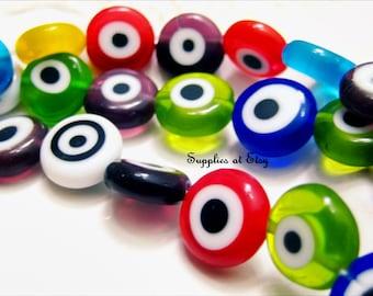 SALE- Evil eye Flat coin Glass Beads-Evil Eye beads-Strand Evil eye Flat round glass bead 12mm-multicolored coin Glass bead-Turkish Evil eye