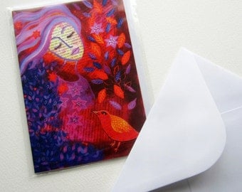 Warm Hearts, greetings card, original whimsical FREE SHIPPING with another item.