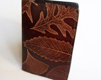 Leather Passport Case/Cover with Leaf Design - For U.S. Canada Passports