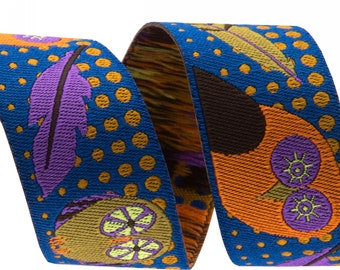 7/8-inch woven jacquard ribbon, multi color owls on blue background