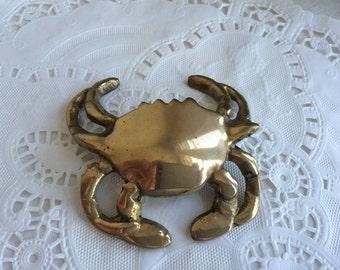 1950s Souvenir Brass Crab Figure Chincoteague, VA Mid Century Nautical Decor Original Tag NWT NOS