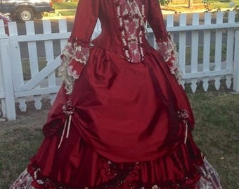 Red Rose Marie Antoinette Fantasy Gown Red/Champagne Med/Large Carnivale Wedding Costume