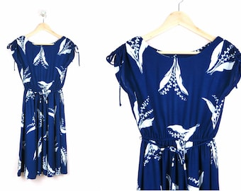 1970s Navy Floral Day Dress M/L