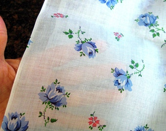 1950s Vintage Fabric - Sheer Floral Cotton Print - Blue Roses on Pale Blue Light-Weight Yardage