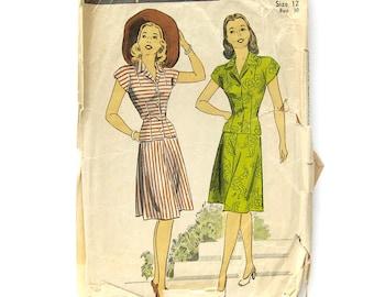 1940s Vintage Sewing Pattern Two-Piece Dress / Rockabilly Dress / Swing Era Dress / DuBarry 6053 / Size 12 Bust 30