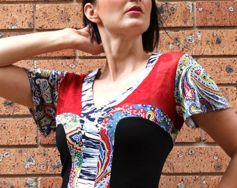 Women's Knit Top, V Neck, Red, Blue and Black, Printed Paisley Jersey Knit, Red Lace, Short Sleeves, Made in Australia.