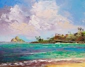 LANIKAI KAILUA Hawaii Framed Original Oil Painting Art Tropical Ocean Surf Snorkel Alala Point Oahu Heavenly Sea Beach Kayak Tourist Mokulua