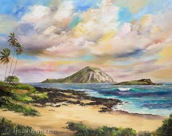 MAKAPUU BEACH HAWAII XLarge 30x24 Original Oil Painting Art Palm Trees Oahu Ocean Paradise Hawaiian Surf Waves Rabbit Island Summer Breeze