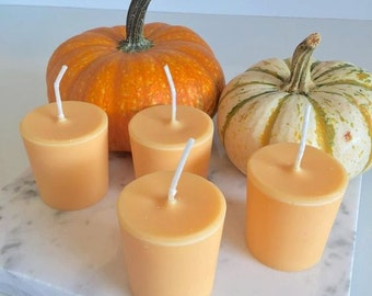 Pumpkin Spice Candles 4 - 12 Scented Soy Candles Standard or Large Size Orange Color Autumn Candle Natural Wax Votives Fall Decor
