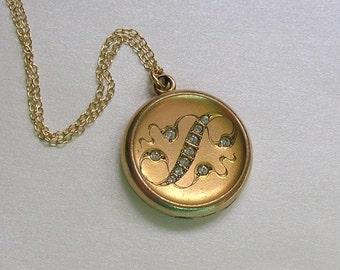 Antique Art Nouveau Locket Necklace, Gold Filled Locket With Nouveau Design, CQ&R Locket, Gift For Her (L212)