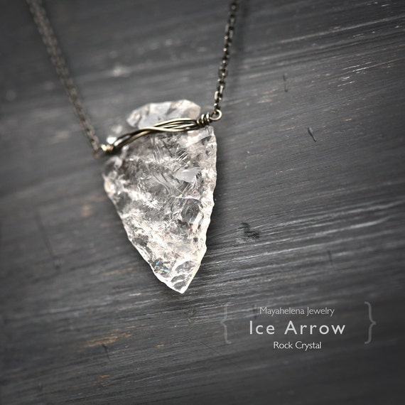 Ice Arrow - Clear Crystal Arrow Head Hand Carved Sterling Silver Wrapped Necklace