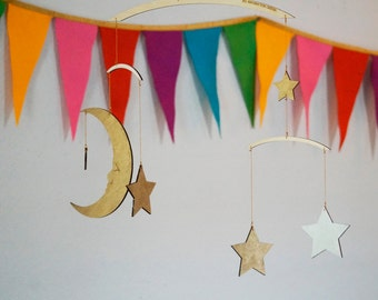 Moon & Stars Mobile - Silver and Gold - Baby Mobile - Wooden Mobile - Nursery Mobile