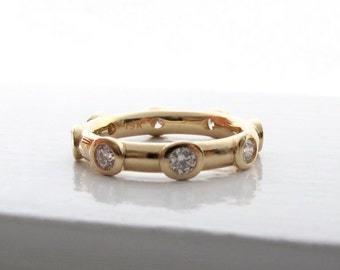 18kt gold and diamond eternity ring solid bezel set wedding or anniversary band
