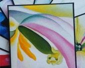 Envelopes, Georgia O'Keeffe Envelopes, Upcycled  Envelopes, Square Envelopes, CD Petal Envelopes, 5 x 5 Inches 10PC