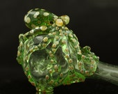 Octopus Large Glass Spoon Pipe Hand Blown Thick Wall in Kryptonite, Ready to Ship #236