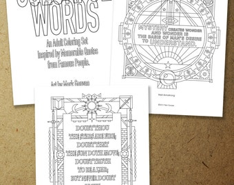 Colorful Words. Inspiring Quotes from Famous People. Adult Coloring Pages. Instant download Coloring Page.