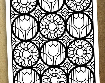 Stained Glass Floral Coloring Page #1. Instant download coloring page.