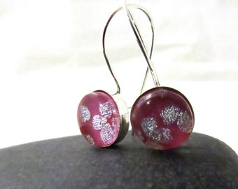 Cherry Blossom Earrings - Pink and Silver Earrings - Sterling Silver Kidney Earwires - Ready to Ship