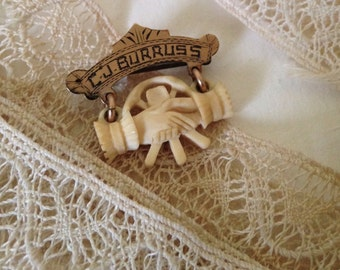 Antique Fraternal Organization Pin, Carved Bone Shaking Hands, Possibly Masons or Freemasons