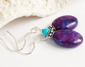 Kingman Turquoise Earring/Silver Turquoise Earring/Mohave Turquoise/Bali Silver/Turquoise Gemstone/Blue Turquoise/Purple Turquoise/Winter