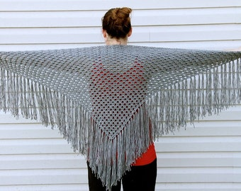 Crochet Shawl with Fringe, Scarf, Cover Up, Wrap, Custom Order