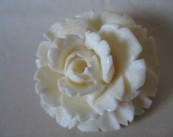 Rose Flower Brooch Off White Carved Vintage Pin
