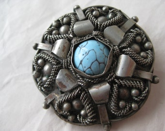 Flower Turquoise Silver Brooch Vintage Pin Blue Pendant