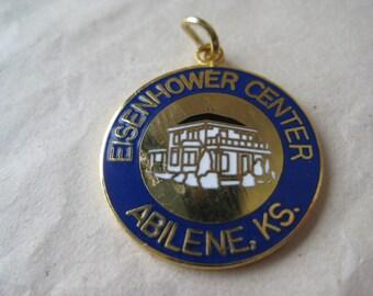 Eisenhower Center Charm Gold Blue Abilene Kansas Enamel Vintage Pendant