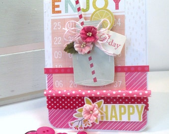 happy birthday card-SUMMER MASON JAR-birthday greeting