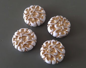 14mm White with Gold Ornate etched acrylic beads 8pcs