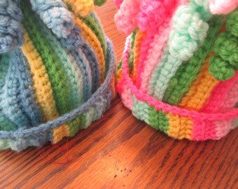 Crochet stripped beanie hat with squiggles