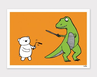 Polar Bear vs. TRex Print